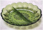 Green Glass Divided Relish Dish