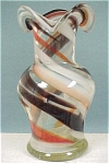 Click here to enlarge image and see more about item g00511: Swirl Clear, Brown, Orange, White Glass Vase