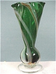 Click here to enlarge image and see more about item g00528: Green With Ribbon Blown Glass Vase