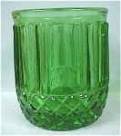 Click here to enlarge image and see more about item g00576: Green Glass Toothpick Holder