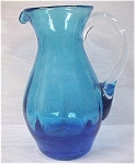 Click to view larger image of Blown Art Glass Blue Pitcher (Image1)