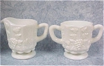 Click here to enlarge image and see more about item g00626: Westmoreland Milk Glass Cream and Sugar Set