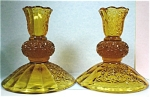 Amber Glass Candle Stick Holder Pair