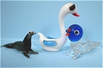 Click here to enlarge image and see more about item g00642: Miniature Blown Glass Birds and Seal