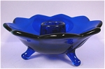 Click here to enlarge image and see more about item g00657: Old Royal Blue Fenton 9 Petal Glass Candle Holder