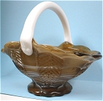 Click here to enlarge image and see more about item g00664: Imperial Carmel Slag Glass Basket