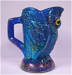 Click here to enlarge image and see more about item g00668: Imperial Reissue Blue Carnival Glass Owl Creamer