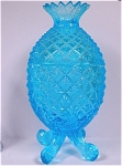Light Blue Glass Pineapple Covered Candy Dish