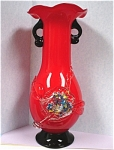 Click here to enlarge image and see more about item g00731: Red Art Glass Vase