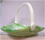 Click here to enlarge image and see more about item g00739: Green Slag Glass Handled Basket Dish