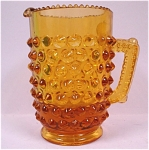 1960s Fenton Glass Miniature Amber Hobnail Pitcher