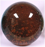 Click here to enlarge image and see more about item g00754: Dark Amber Glass Paperweight