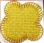 Amber Glass Daisy and Button Pattern Water Tray