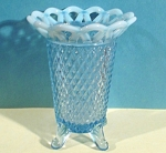 Click here to enlarge image and see more about item g00890: Imperial Genie Vase Blue Opalescent Lace Edge