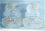 1977 Avon Fostoria Coin Glass Candle Holder Pair