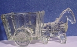 Click here to enlarge image and see more about item g00968: Old Glass Horse and Cart