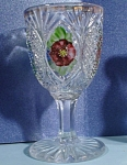 Click here to enlarge image and see more about item g00970: Handpainted Cordial Stem Glass