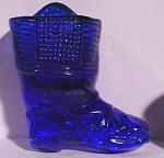 Click here to enlarge image and see more about item g01000: 1980s Reproduction Cobalt Blue Match Holder Boot