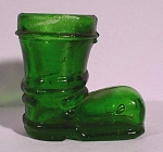 Click here to enlarge image and see more about item g01005: Miniature Green Glass Shoe Bottle