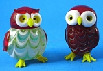 Lenox Art Glass Owl Figure Pair