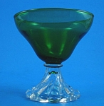 Forest Green on Clear Stem Sherbet or Cocktail Glass