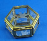 Click here to enlarge image and see more about item g01081: Miniature Glass and Brass Trinket Box