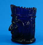 Click here to enlarge image and see more about item g01083: 1970s St Clair Glass Cobalt Indian Toothpick Holder