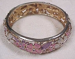 Click here to enlarge image and see more about item j00158: Kramer Floral Enameled Hinged Bangle
