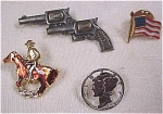 Click here to enlarge image and see more about item j00218: Pins - Horse, Guns, Dime & Flag