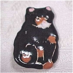 Click here to enlarge image and see more about item j00233: Black Cat Pottery Pin