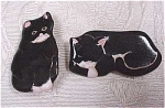 Click here to enlarge image and see more about item j00234: Black Cat Pottery Pins