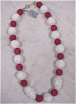 Click here to enlarge image and see more about item j00243: Freirich Red & White 18in Necklace
