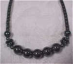 Click here to enlarge image and see more about item j00297: Genuine Hematite Bead Necklace