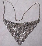 Click here to enlarge image and see more about item j00301: Unmarked Silvertone Drape Choker Necklace