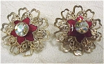 Click here to enlarge image and see more about item j00331: Gold Tone Red Enamel Rhinestone Clip Earrings