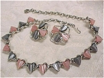 Click here to enlarge image and see more about item j00347: Unmarked Pink and Grey Choker and Earring Set