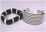 Click here to enlarge image and see more about item j00388: Black and White Bracelet Pair