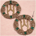 Click here to enlarge image and see more about item j00457: 1930s/1940s Rhinestone Dress Clip Pair