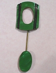 Click here to enlarge image and see more about item j00575: 1920s/1930s Green Plastic Art Deco Bar Pin
