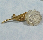 Click here to enlarge image and see more about item j00609: Wells Tiny Carved Mother of Pearl Flower Pin