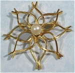 Click here to enlarge image and see more about item j00638: Wells 14KGF Flower with Pearl Center Pin