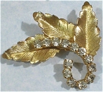 Beautiful Rhinestone and Goldtone Leaves Pin