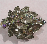 Leaf Shaped Rhinestone Cluster Pin