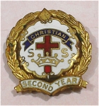 Click here to enlarge image and see more about item j00732: Christian SS Second Year Lapel Pin