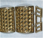 Click here to enlarge image and see more about item j00835: Unmarked Extra Wide Goldtone Bracelet