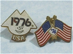 Click here to enlarge image and see more about item j00872: Two 1976 Lapel Pins