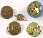 Click here to enlarge image and see more about item j00875: Five Military Theme Pins