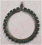 Click here to enlarge image and see more about item j00885: Green Rhinestone Circle Pendant