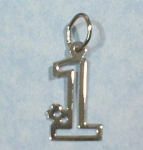 Click here to enlarge image and see more about item j00950: Sterling Silver #1 Charm