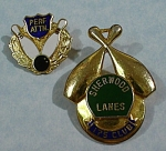 Click here to enlarge image and see more about item j00995: Two Bowling Lapel Pins
